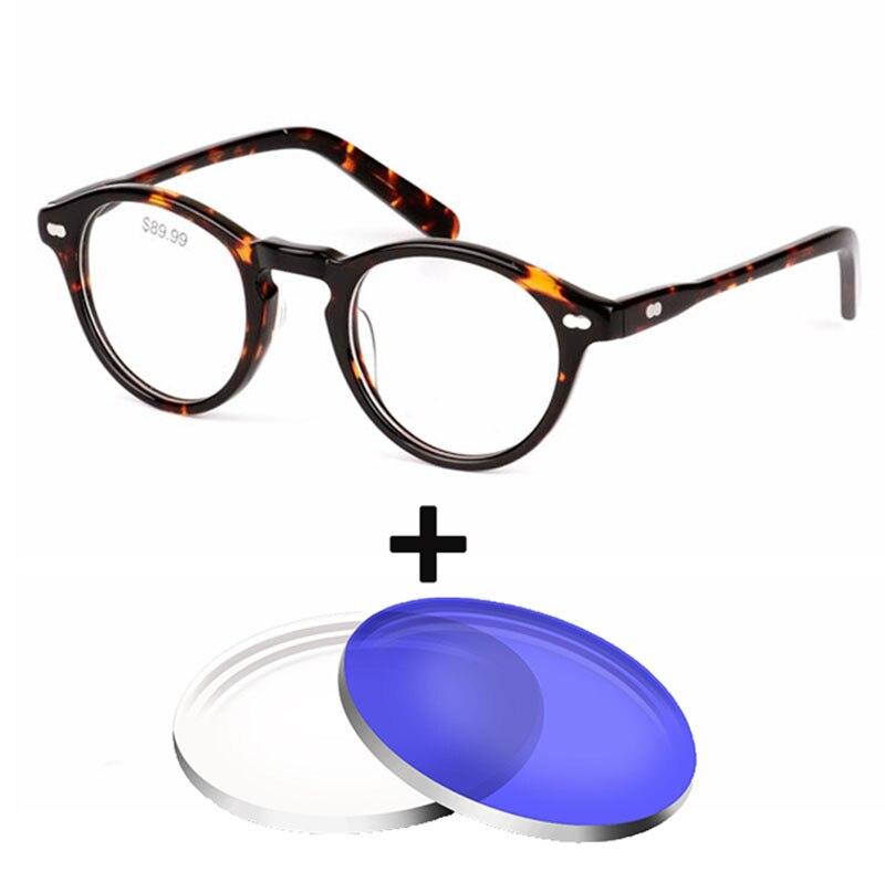c33d55a65e Acetato de Vintage gafas redondas de los hombres y las mujeres Mujer gafas  graduadas, gafas de sol de 1,61 índice anti-Luz Azul gafas ópticas