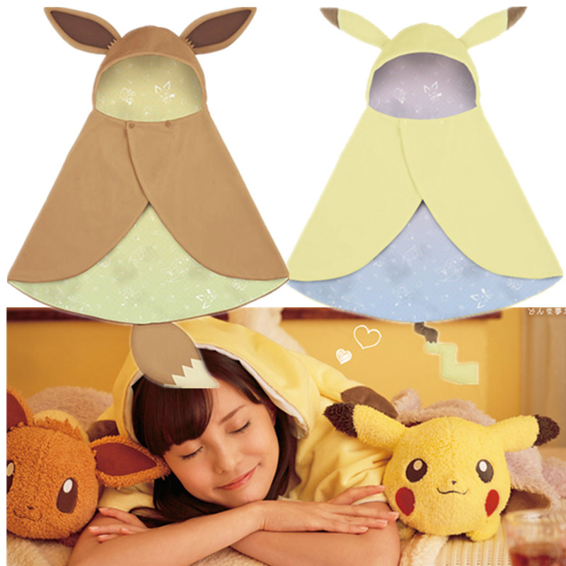 Cosplay anime pokemon Pikachu Eevee plush cloak hoodies coat costume kids xmas gift
