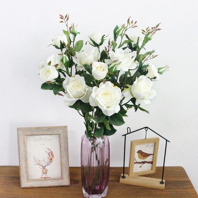 JAROWN-Roses artificielles 6 têtes | Fleurs artificielles en soie, pour décorations de mariage et fête à domicile, center de table