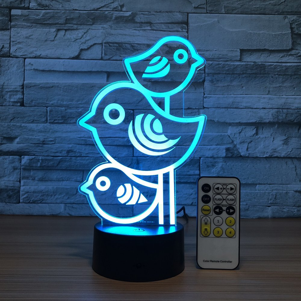 Cute Bird Night Light 3D lamp 7 Colors Changing Nightlight with Smart Touch Remote Control LED Night Light for Kids as Gifts