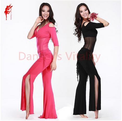 PENJUALAN PANAS! Setengah Lengan tari perut set 3 pcs top celana dan pinggul syal untuk wanita tari perut setelan 5 warna M L XL