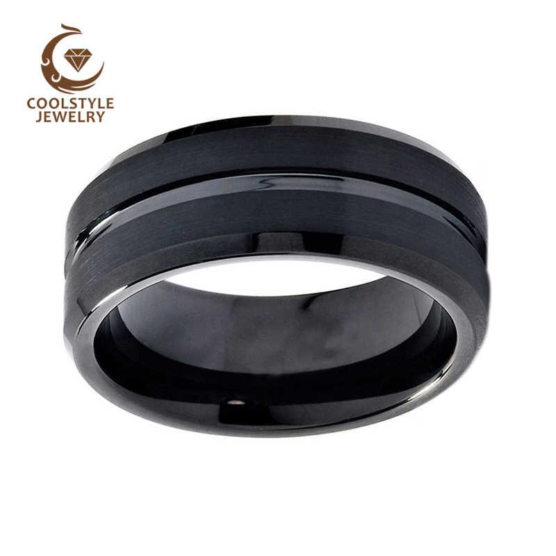 8mm mężczyźni kobiety czarny z wolframem obrączka z węglika pierścień matowy wykończenie rowkowane centrum Comfort Fit