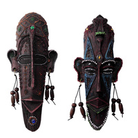 Vintage African Hanging Decorative Masks Resin Crafts Creative Home Living Room Bar Wall Decoration Soft Pendant