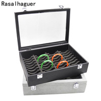 High Quality Jewellery Box with Clear Glass Lid for Showing 40pcs Bracelets Jewelry Organizer Made of PU Glasses and Plastic