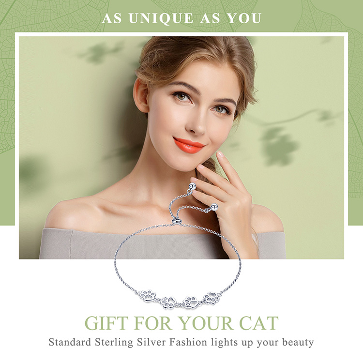 HTB1oG5yacvrK1Rjy0Feq6ATmVXar BAMOER New Arrival Genuine 925 Sterling Silver Animal Footprints Chain Bracelets for Women Valentines Day Jewelry Gift SCB096