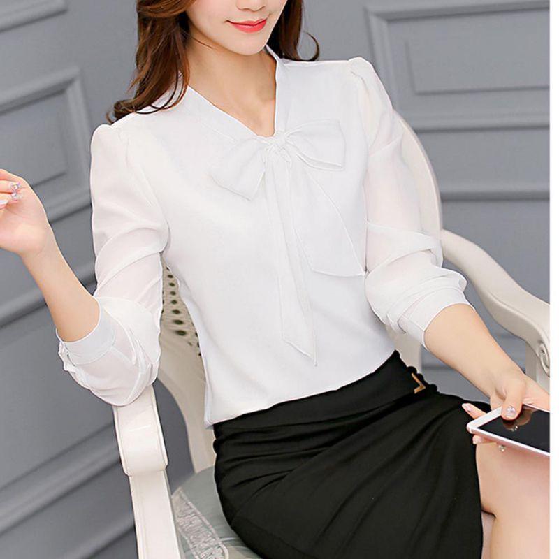 Blusa Pink Long Sleeve Señora Camisa Bowknot Sleeve Short 2018 Gasa Sleeve Mujeres Casual Oficina Moda pink Tops white wgpE1nq