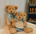 30cm 12inch 2Pcs/set Teddy bear With Blue Cloth Soft Plush Toy  High quality Kids Toys Chrismas Gift