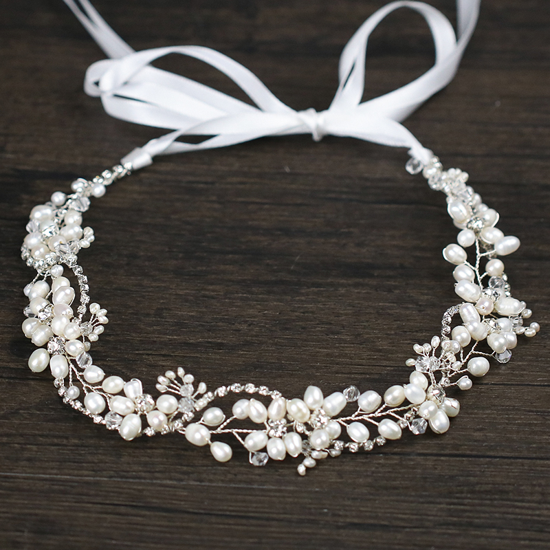 Trendy Handmade Pearl Headband for Bridal Weeding Hairwair Vintage Silver Rhinestone Hairband Tiara Hair Accessories Headpiece