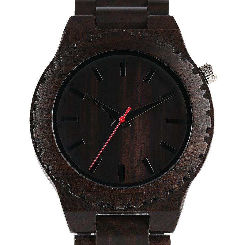 Fashion Natural Ebony Natural Wood Watches Mens Top Gear Full Wooden Quartz Wristwatch Male Black Sports Hour Gift 2018