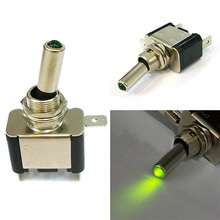 New Car Light LED DC 12V 20A Toggle ON/OFF Black + Silver Switch Green Light 2017 Hot