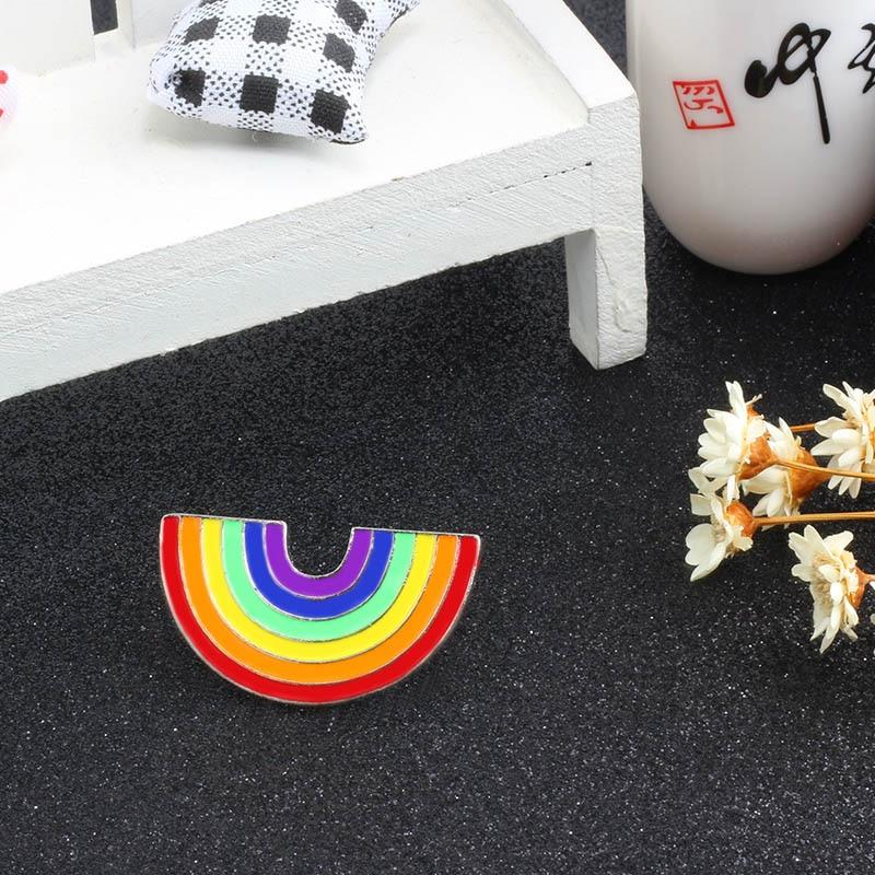 Модные Цветные эмалированные броши на булавке для женщин, мультяшная креативная мини-Радужная металлическая брошь на булавке, Джинсовая Шляпа, значок, воротник, ювелирное изделие - Окраска металла: Big Rainbow