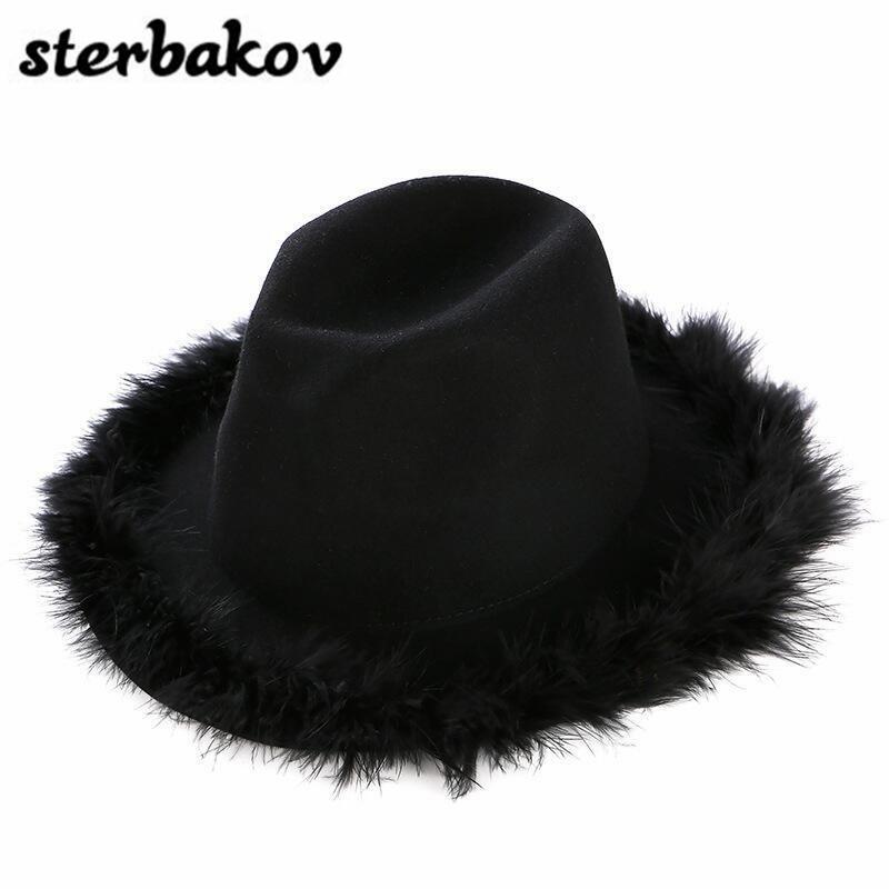 2017 Spring men ladies retro jazz <font><b>Fedora</b></font> <font><b>Fedora</b></font> wool hat feel star wool hat unisex black blanket Bowler elastic hat Peas cap