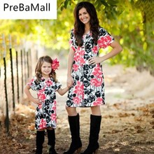 4-11T Family Clothes Outfits Mother and daughter Dress Floral Matching Elegant princess Pageant vestidos Mom Girls Dress C47 женская юбка brand new c47 saia sv016397 c47