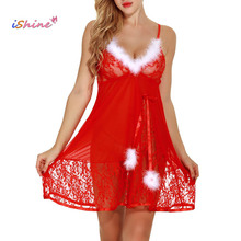 iShine 2017 New Christmas Sexy Lingerie Transparent Mesh Lace Strappy Feather Babydoll Women Teddy pajamas Panties Sexy Costumes