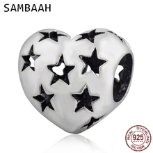 Sambaah Starry Heart Charm 925 Antique Sterling Silver Star Heart Love Beads fit Pandora Valentine's Day Bracelet SS2986