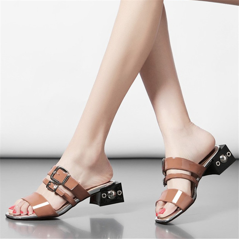 Plus size 34-43 New Hot sale Summer woman sandals genuine leather Outside slippers good quality Rivet Strange Style female shoes цены онлайн
