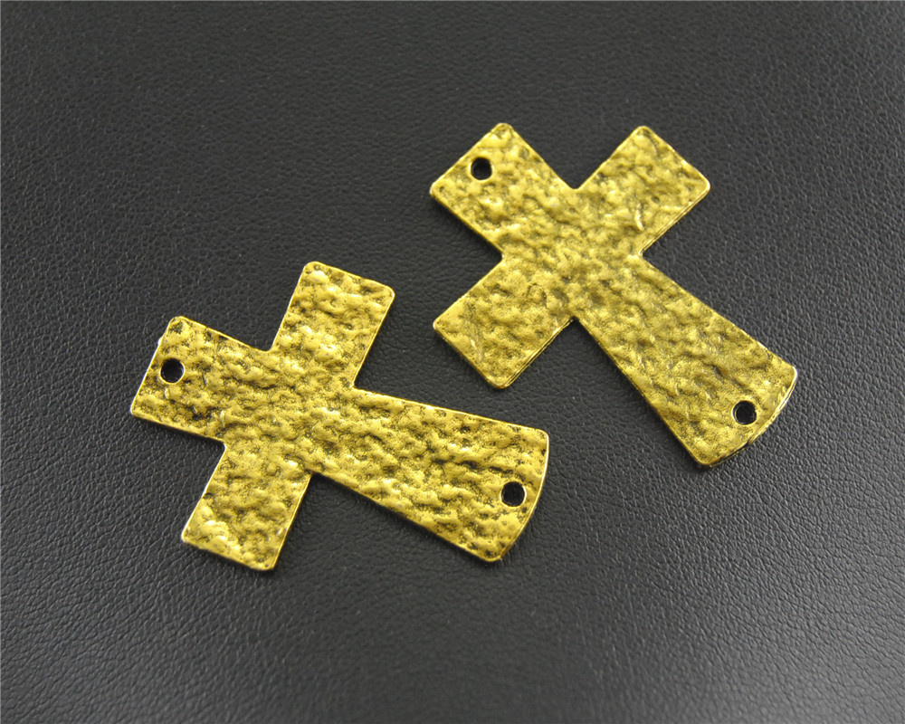 5pcs Antique Large Hammered Cross Charm Pendants for Bracelet 29x50mm