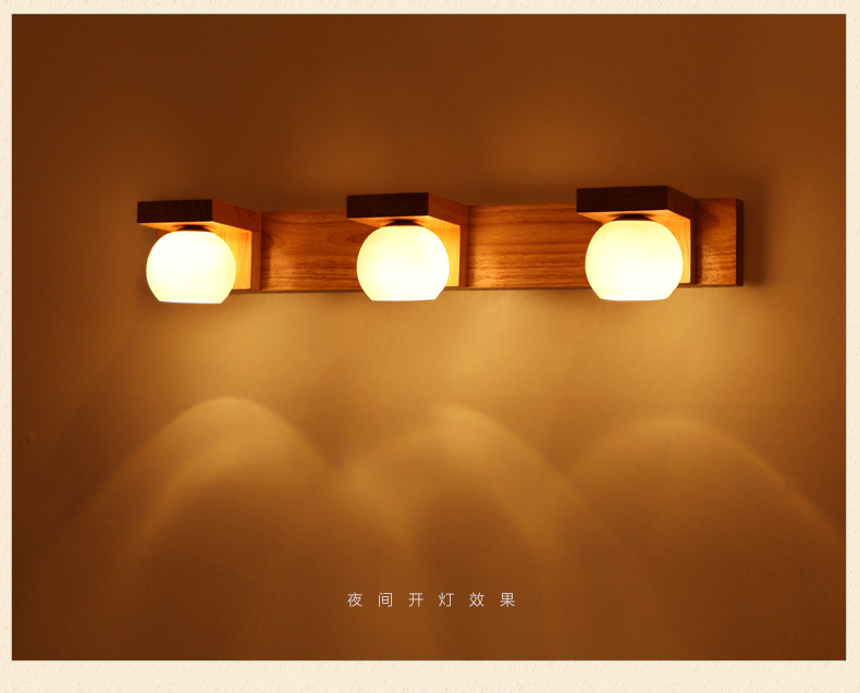 ФОТО Creative Design Mirror Lamp Bathroom Lighting Wall Lamp 540/340mm Wood Glass 220V G4 High Quality WML001