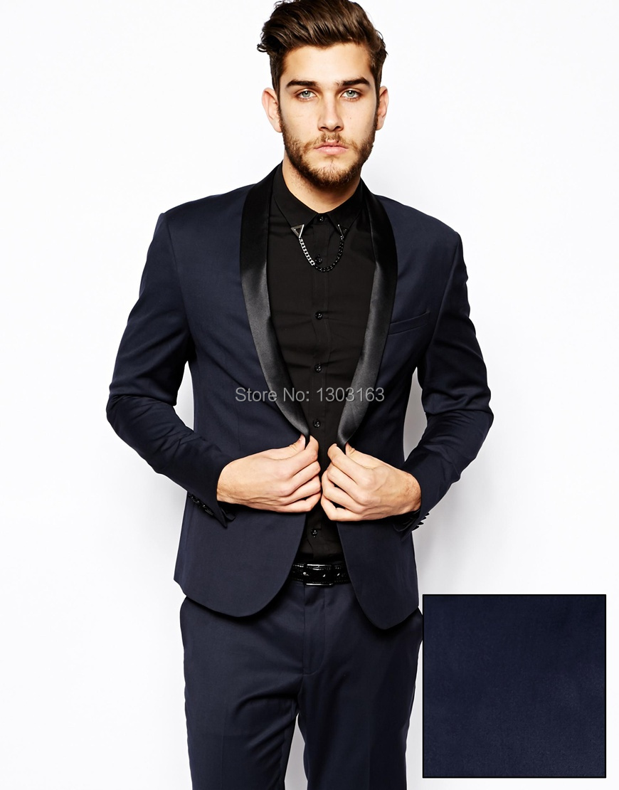 2016 Velvet blue Groom tuxedos suits for mens 3 pieces suits men ...