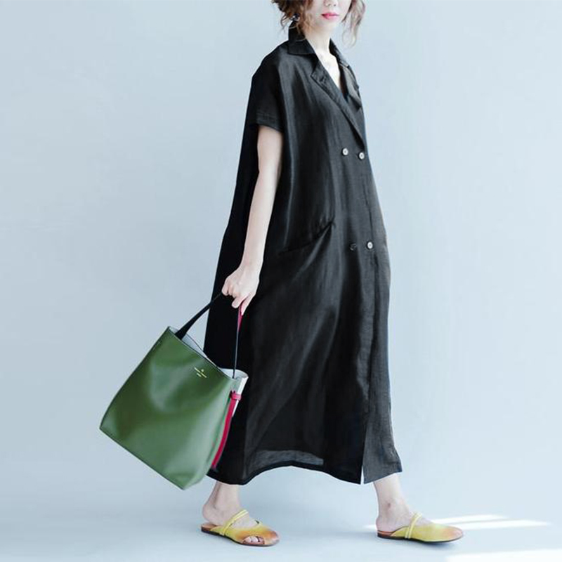 ZANZEA Elegant Women Lapel Neck Short Sleeve Solid Summer Dress Casual Loose Work OL Shirt Vestido Cotton Linen Dresses Robe