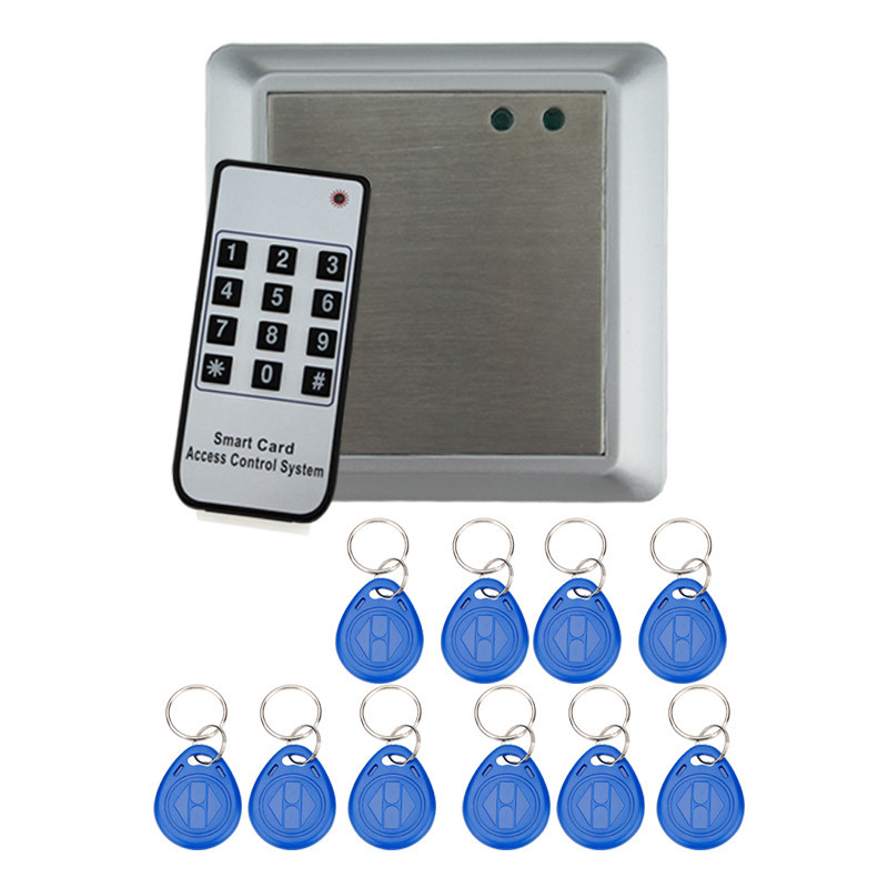 Free shipping door access control system reader+electronic bolt lock +power supply+key fobs+door bell+exit button+remote control