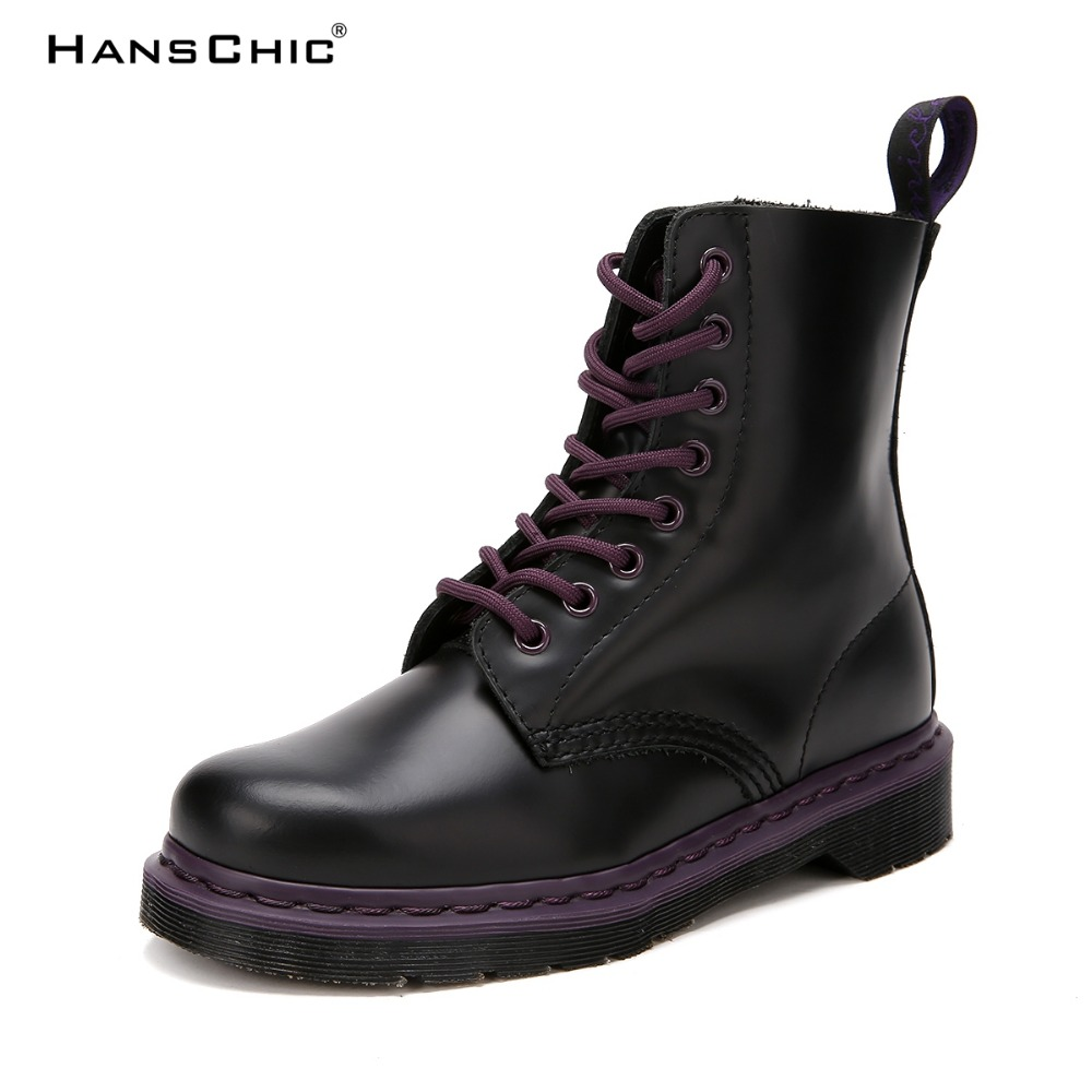 HANSCHIC 2017 New Arrival Plus Size Retro Purple Martin Style Female Women Med Real Cow Leather Boots Shoes for Female TS-807 new arrival 65cm long wavy purple female