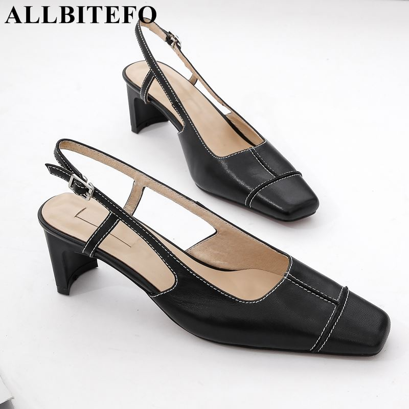 ALLBITEFO brand genuine leather square toe high heel shoes sexy fashion high heels women sandals summer
