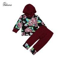 Newborn Baby Girls Clothes Set Floral Hoodie+Long Pants Leggings Autumn 2Pcs Outfit Clothes