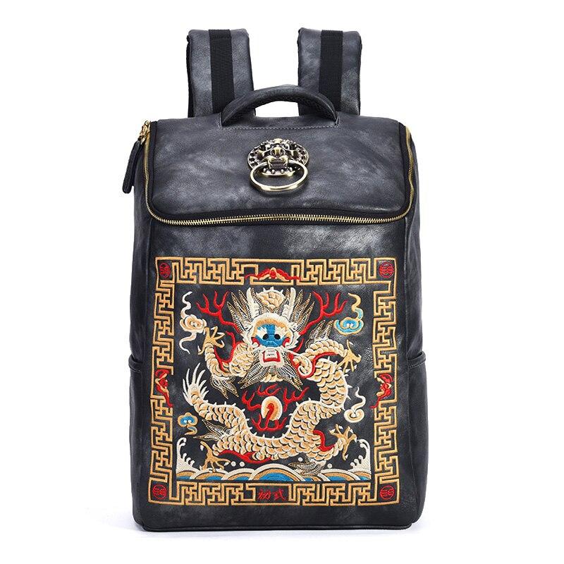 Chiński luksusowe projektant wodoodporna Vintage plecaki mężczyźni haft smok plecak torba na laptopa plecak szkolny kobiet w Plecaki od Bagaże i torby na  Grupa 1