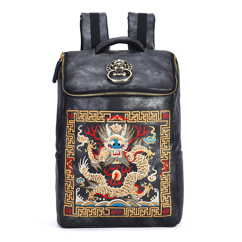 Chinese Luxury Designer Waterproof Vintage Backpacks Men Embroidery Dragon Backpack Bag Laptop School Bagpack Women