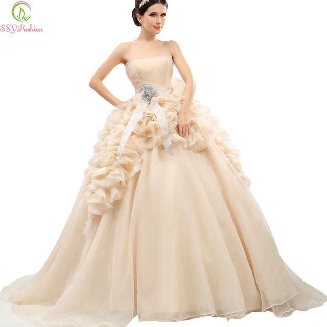 Ssyfashion High End Champagne Sweet Flower Long Prom Dresses The