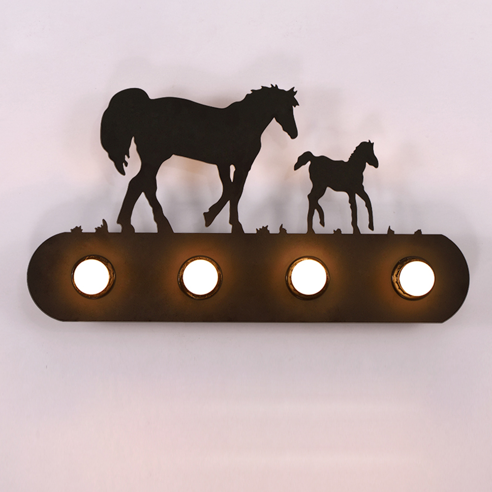 American Country Vintage Iron Horse Wall Lamp Bedside Light Nordic Living Room Wall Art Sconce Lamp Led Mirror Vanity Light
