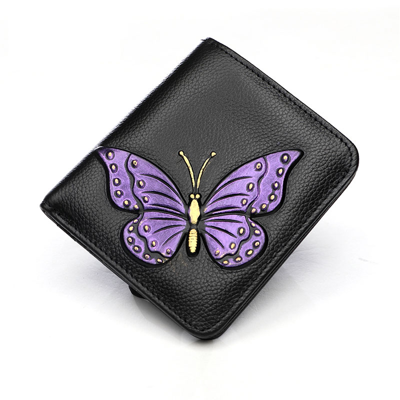 Genuine Leather Women Short Wallet Classic Butterfly Pattern Purse Female Fold Wallets Card Dollars Holder Mini Hand Clutch Bag kenneth cole ikc1892