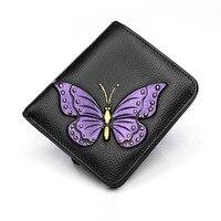 Genuine Leather Women Short Wallet Classic Butterfly Pattern Purse Female Fold Wallets Card Dollars Holder Mini Hand Clutch Bag