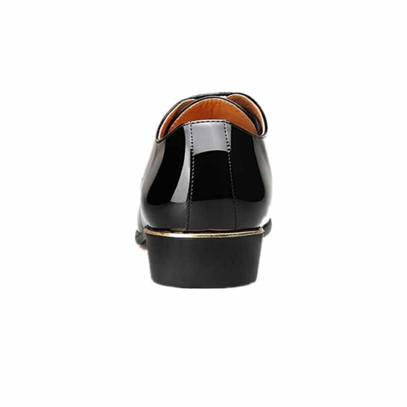 Misalwa Erkekler Lüks Elbise Ayakkabı Rugan Oxford Erkek Ayakkabı İtalya Beyaz Derby Resmi Erkek Daireler Drop Shipping Artı Boyutu 3847