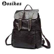 BOSIKAS Men Backpack Genuine Leather Bag Men's Travel Backpack Laptop bag Large Capacity Leather Men Backpacks for School New