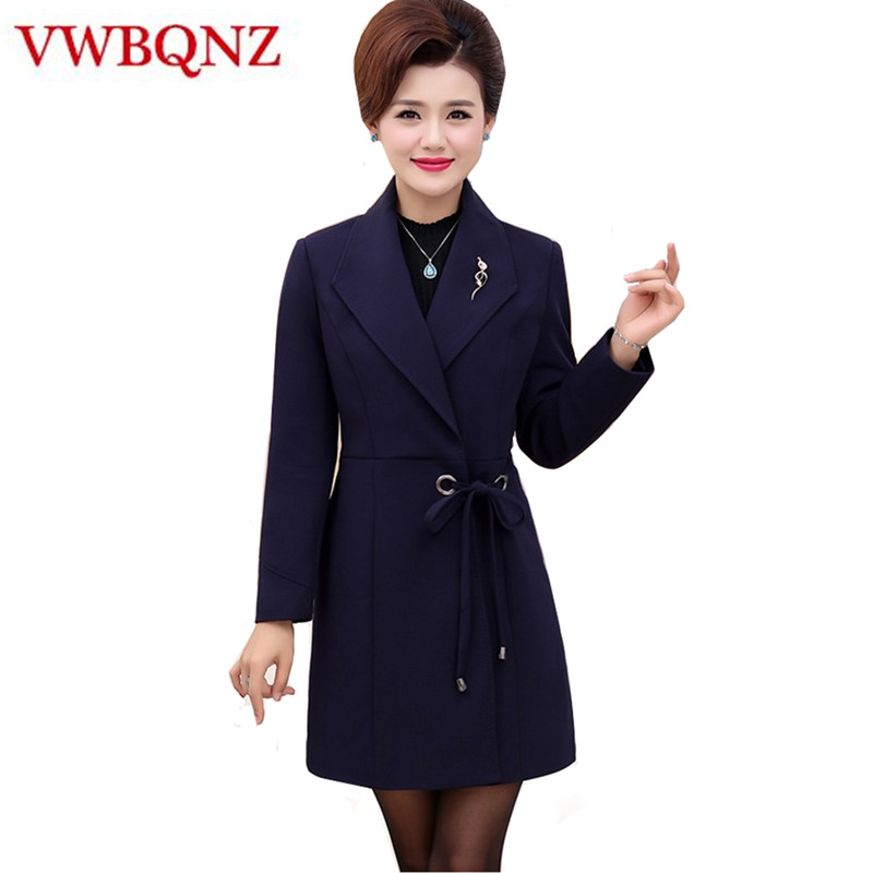 New Autumn Winter Middle-aged Mother   Trench   Coat Plus Size 5XL Elegant Temperament Slim Long Outwear Solid Casual Women Clothing