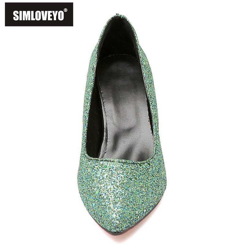 """SIMLOVEYO Lấp Lánh Giày Người Phụ Nữ Giày Cao Gót Bơm Nữ Giày Nữ Đảng Nhảy Múa Giày Bơm Giày zapatos de tacon mujer """"B483"""