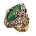 Turcos do Vintage jóias Big Size verde anel antigo banhado a ouro anéis Turco Rhinestone mulheres acessórios 2016 marca Bijuterias