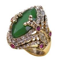 Vintage joyería turca del tamaño grande verde anillo de oro antiguo plateó los anillos Turco Rhinestone mujeres accesorios 2016 marca Bijuterias