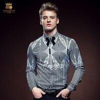 Free Shipping Fashion Casual 2016 New Man Male Men S Long Sleeved Shirt Shirts Color Stripe