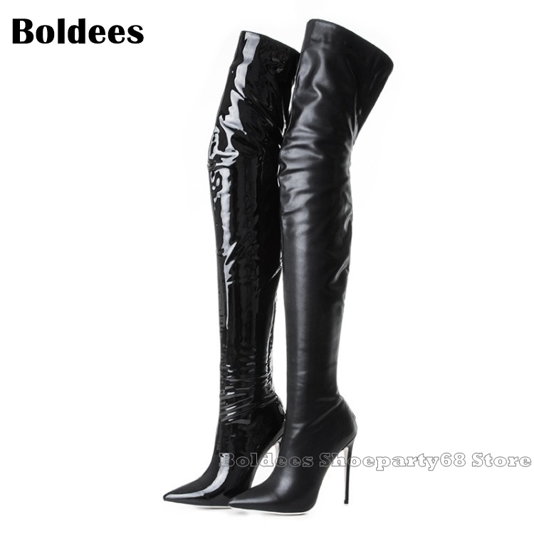 Fashion Black Leather Over The knee Thigh High Boots Women Winter Designer Thin High Heel Pointed Toe Shoes Long BotaFashion Black Leather Over The knee Thigh High Boots Women Winter Designer Thin High Heel Pointed Toe Shoes Long Bota