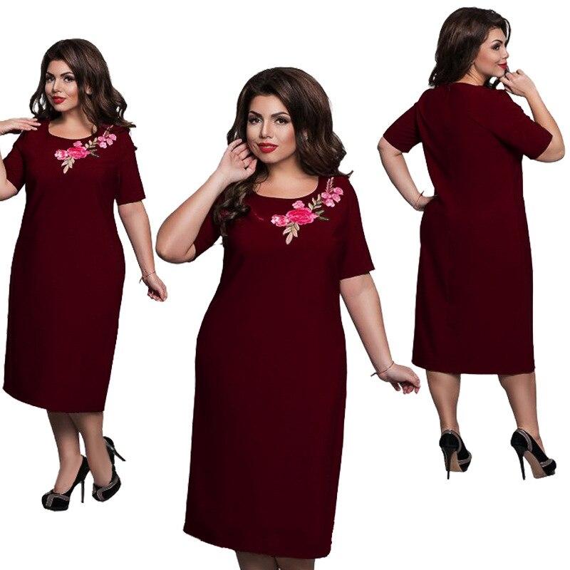 da24b78e8c463 Büyük boyutu 6XL 2019 Yağ MM Kadın elbise Sonbahar uzun kollu Zarif Gevşek  patchwork elbiseler artı