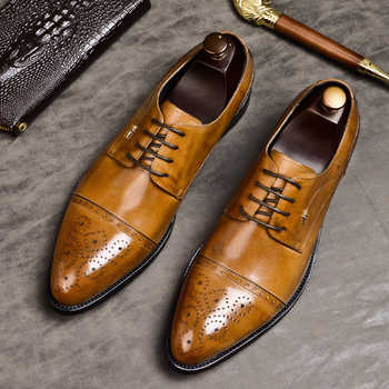 Phenkang mens formal shoes genuine leather oxford shoes for men black 2019 dress shoes wedding shoes laces leather brogues - DISCOUNT ITEM  49% OFF All Category