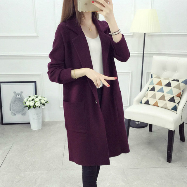 2017 New Winter Long Sweater Coat For Women Turn Down Formal Long