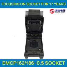 eMCP162 to DIP48 IC Test Socket , for BGA162 BGA186 testing, Chip Size 12*16mm, Clamshell Programmer For Data Recovery qfn48 to dip48 qfn48 mlf48 mlp48 plastronics 48qn50k17070 ic test socket programmer adapter 0 5mm pitch