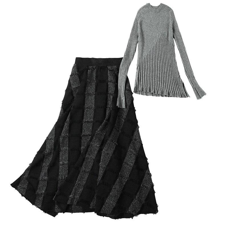 Épaule 2 Taille Gris Haut 2019 Vêtements Ensemble Off Designer Automne De Pièce Top Jupe Élégant Tricot Haute Hiver Femmes Longue Gamme FB7qFT