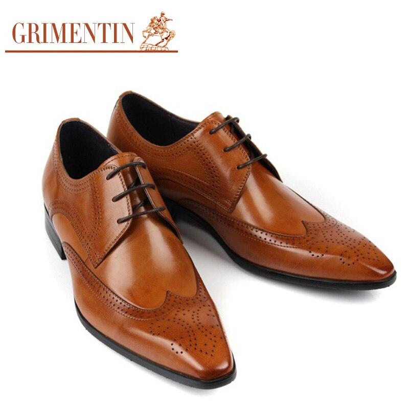 bb9aa4ea957 Grimentin marca de negocios Zapatos de vestir de cuero genuino marrón negro  moda italiana zapatos masculinos 2017 en Calzado vestir de Zapatos en ...