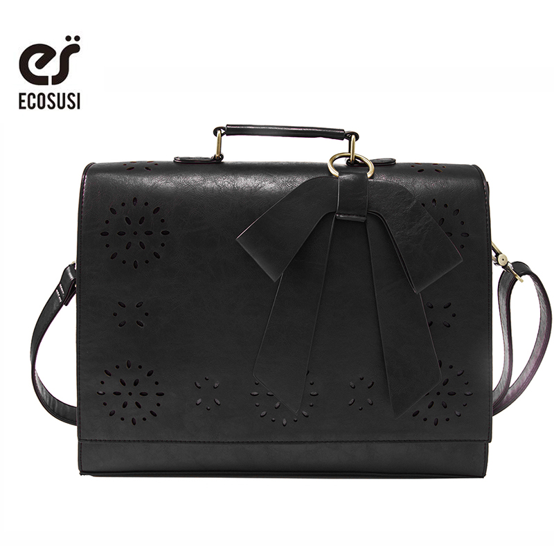 ECOSUSI New Fashion Women PU Leather Handbags Vintage Pu Leather Messenger Bags Shoulder Business Laptop Messenger Bags Tote Bag micocah brand new vintage bags retro pu leather tote bag women messenger bags small clutch ladies handbags m07028