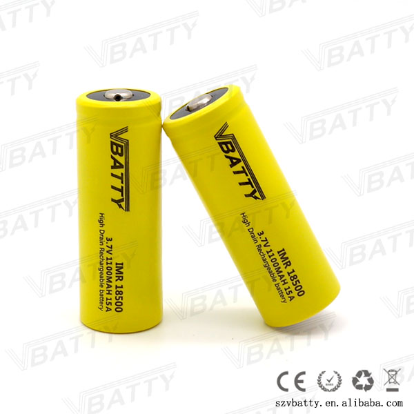 Vbatty IMR 18500 1100mah 15A 3.7V rechargeable high drain Li-ion battery with Button top(1 pc) image